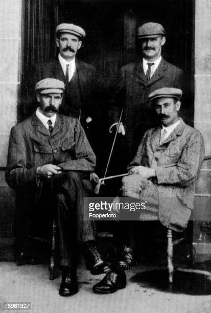 August 1905 St Andrews Four famous golfing professionals pictured prior to their International Challenge Match with a 1st prize of 400 Standing lr...