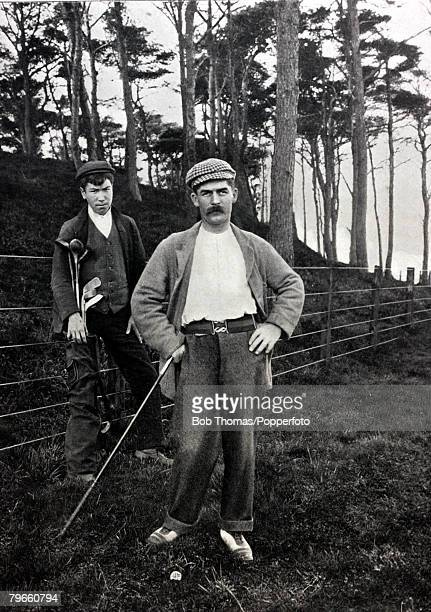 circa 1885 Scottish golfer Bernard 'Ben' Sayers and caddie Sandy Smith Sayers was a well respected golfer and made golf balls from a machine handed...