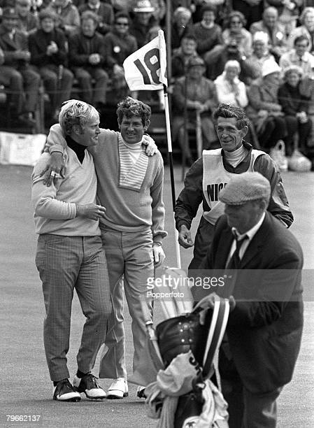 Sport Golf St Andrews Scotland 12th July 1970 British Open Championships USA's Jack Nicklaus hugs compatriot Doug Sanders after Nicklaus won the...