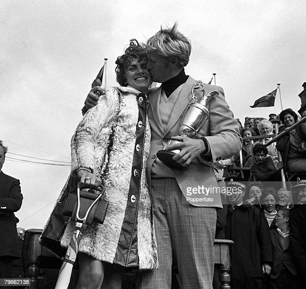 Sport Golf St Andrews Scotland 12th July 1970 British Open Championships USA's Jack Nicklaus kisses his wife Barbara as he holds the Claret Jug...