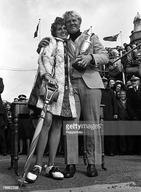 Sport Golf St Andrews Scotland 12th July 1970 British Open Championships USA's Jack Nicklaus hugs his wife Barbara as he holds the Claret Jug trophy...