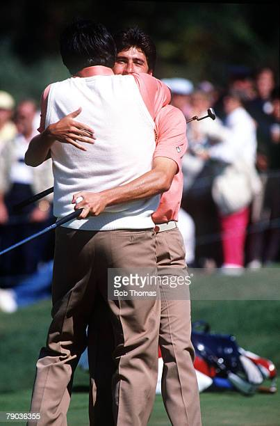 Sport Golf The Ryder Cup Muirfield Village Ohio 25th27th September 1987 USA 13 v Great Britain and Europe 15 Jose Maria Olazabal hugs partner...