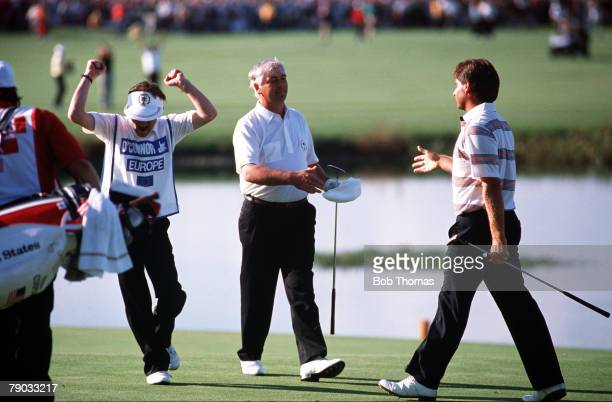 Sport Golf The Ryder Cup The Belfry England 22nd24th September 1989 Great Britain and Europe 14 v USA 14 Europe's Christy O'Connor Jnr wins his...