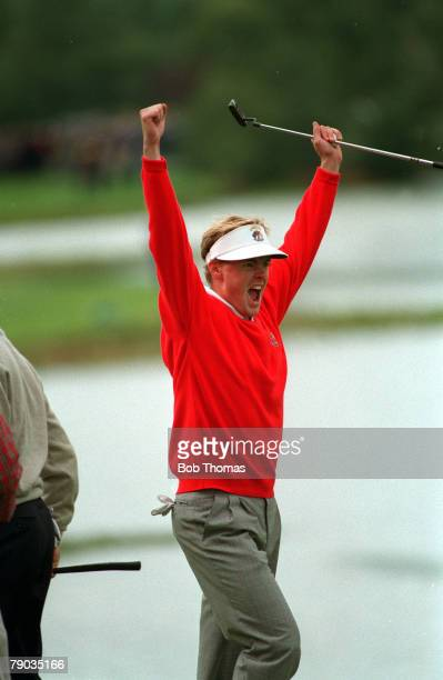 Sport, Golf, The Ryder Cup, The Belfry, England, September 1993, Europe 13 v USA 15, Europe's Joakim Haeggman celebrates at the 18th as he beats...