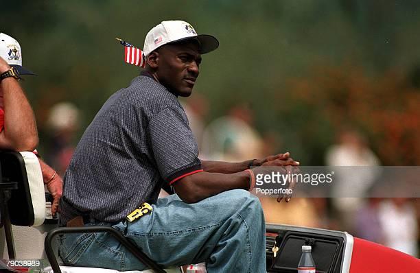 Sport, Golf, The Ryder Cup, Valderrama, Spain, 26th-28th September 1997, Europe 14 1/2 v USA 13 1/2, US Basketball star Michael Jordan watches the...