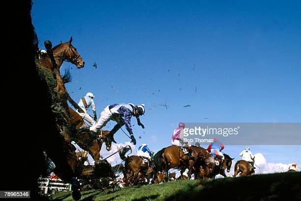 Sport Horse Racing 1989 Grand National at Aintree Brown Trix ridden by D Pitcher falls at Bechers Brook