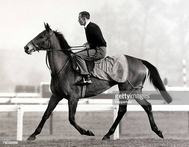 Sport Horse Racing Bristol England 18th March 1966 Irish bred racehorse 'Arkle' ridden by jockey Pat Taaffe pictured during training Arkle was one of...