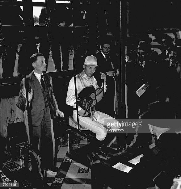 Sport, Horse Racing, France, pic: 1955, Peter Townsend being weighed in after the Gentlemen Riders' race at Maison-Laffitte, Paris, Peter Townsend...