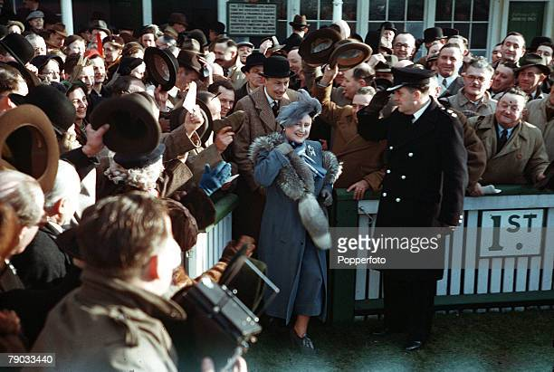 Sport Horse Racing Hurst Park England Her Majesty Queen Elizabeth is pictured in the winners enclosure