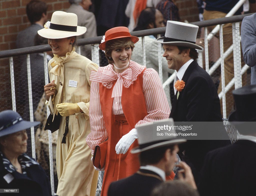 Sport. Horse Racing. Royal Ascot, England. 18th June 1981. Lady Diana Spencer ( centre) wearing a red hat and dress. : News Photo