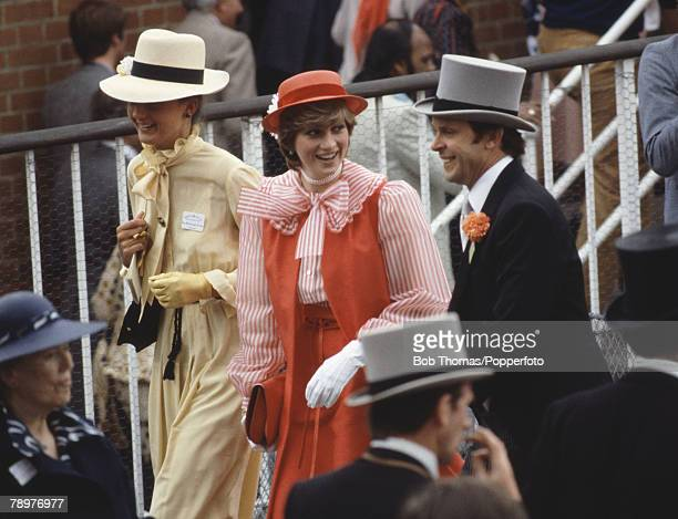 Sport Horse Racing Royal Ascot England 18th June 1981 Lady Diana Spencer wearing a red hat and dress