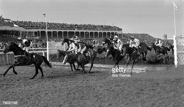 Sport Horse Racing The Grand National Aintree Liverpool England 29th March 1980 The horses negotiate the water jump with eventual winner Ben Nevis...