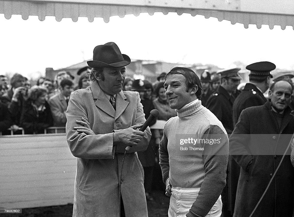 Sport, Horse Racing, The Grand National, Aintree, Liverpool, England, 31st March 1973, Jockey Richard Pitman is interviewed by the BBC's David Coleman after the race where he came a very close second to winner Red Rum on his horse Crisp