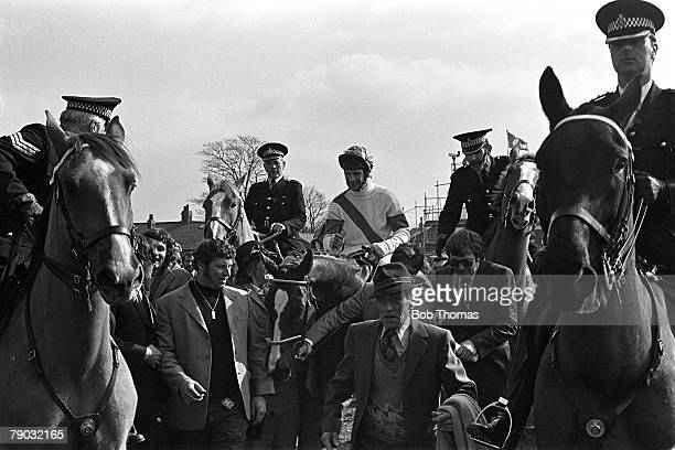 Sport Horse Racing The Grand National Aintree Liverpool England 4th April 1981 The horse Aldaniti ridden by jockey Bob Champion is led into the...
