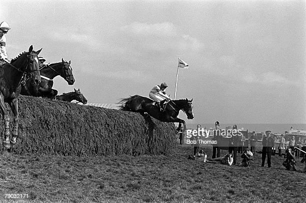 Sport Horse Racing The Grand National Aintree Liverpool England 4th April 1981 The horse Aldaniti ridden by jockey Bob Champion clears the Chair...