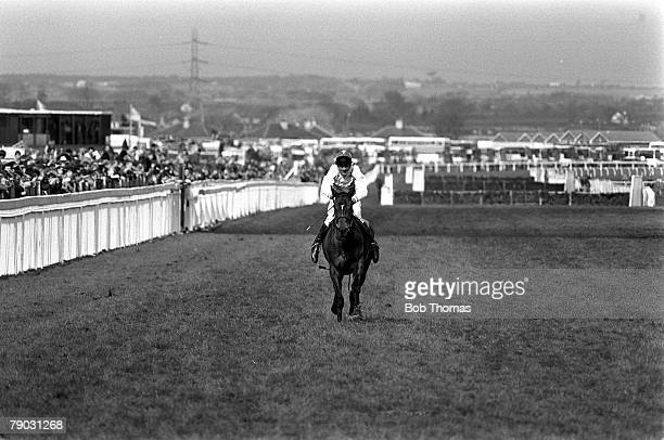 Sport Horse Racing The Grand National Aintree Liverpool England 9th April 1988 The horse Rhyme 'n' Reason ridden by jockey Brendan Powell approaches...