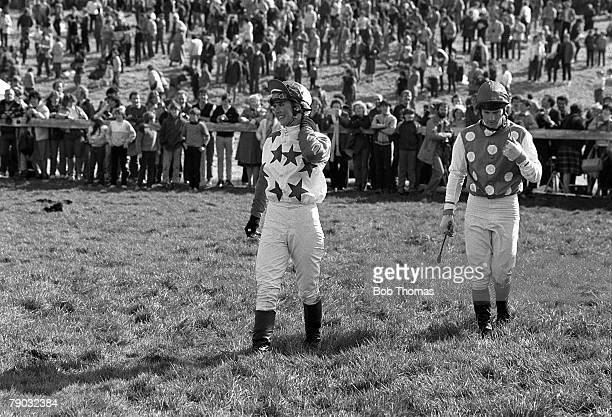 Sport Horse Racing The Grand National Aintree Liverpool England 9th April 1983 The jockey Geraldine Rees is pictured after falling at the first fence