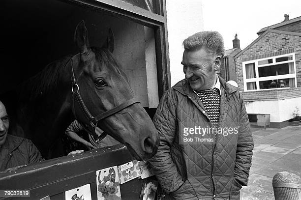 Sport Horse Racing The Grand National Southport England 3rd April 1977 The legendary horse Red Rum and trainer Ginger McCain are pictured at his...