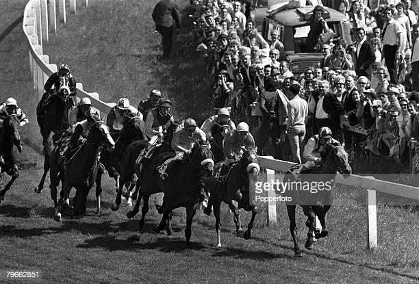 "Sport, Horse-Racing, Epsom, England, 3rd June 1970, The Derby, The horses thunder around Tattenham corner during the race, won by ""Nijinsky"" ridden..."