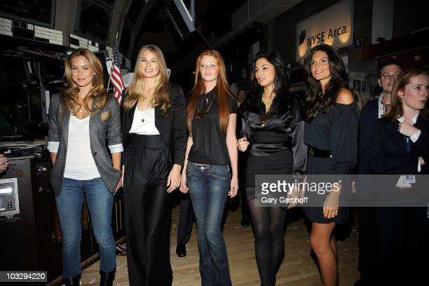 Sport Illustrated swimsuit models Bar Refaeli Tori Praver Cintia Dicker Jessica Gomes and Daniella Sarabyba visit the New York Stock Exchange on...