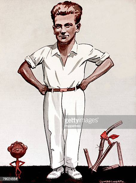 Sport Illustration, Cricket, Australia Drawing of Harold Larwood -The Destroying Angel+ Nottinghamshire and England fast bowler who was at the centre...