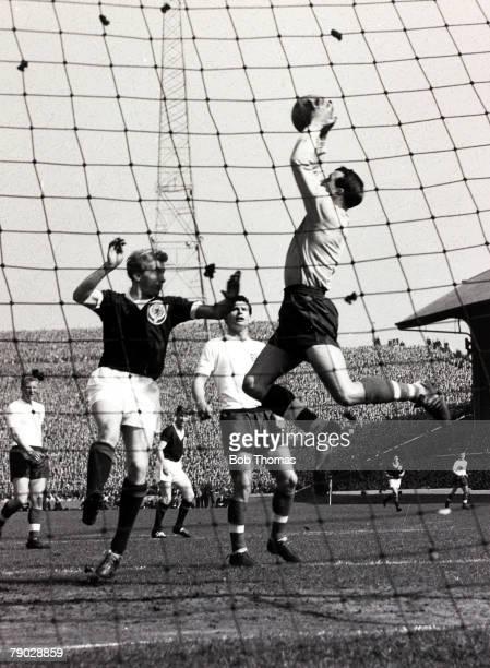 Sport International Football Home Championship Hampden Park Glasgow 14th April 1962 Scotland 2 v England 0 Attendance 132 England goalkeeper Ron...