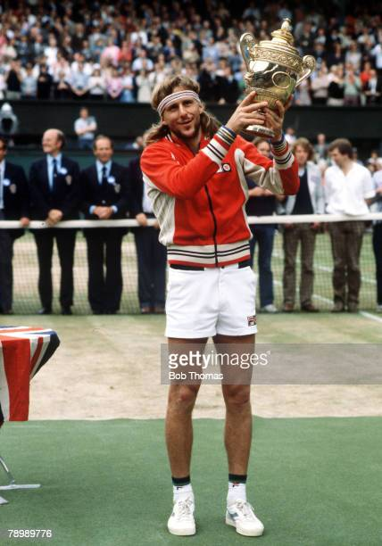 1980 Wimbledon Lawn Tennis Championships Bjorn Borg Sweden the Mens Singles Champion with the trophy after beating John McEnroe in the Final