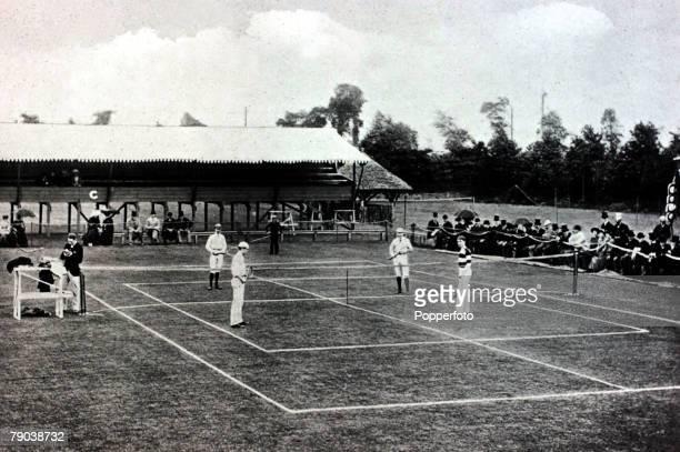 Sport Lawn Tennis Wimbledon London England pic 1883 The first international match at Wimbledon Wand ERenshaw Great Britain v CM and JSClark USA