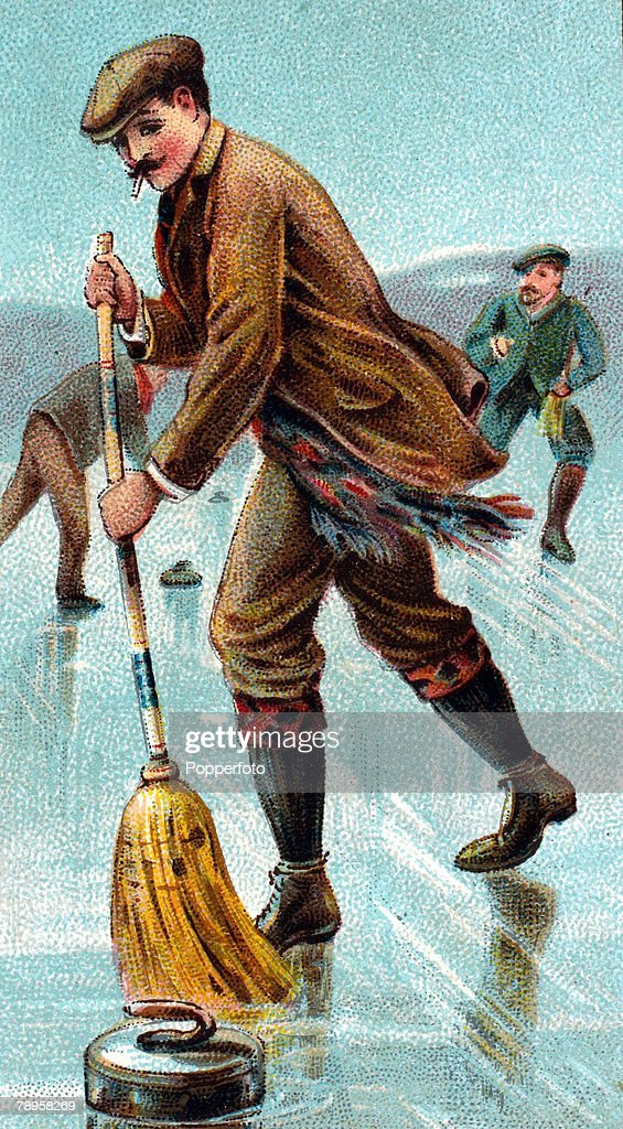 Sport, Leisure, Curling Illustration, pic: circa 1910, This illustration shows a man curling using a brush to work on the stone