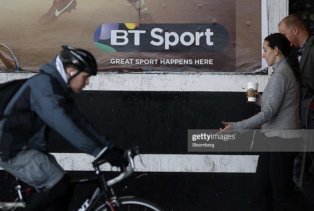Sport logo sits on an advertising poster for BT Group Plc's new sports television service in London, U.K. on Friday, May 17, 2013. BT Group Plc said it will offer its new BT Sport channels free with broadband subscriptions to make its bundles of phone, Internet and TV service more appealing. Photographer: Simon Dawson/Bloomberg via Getty Images