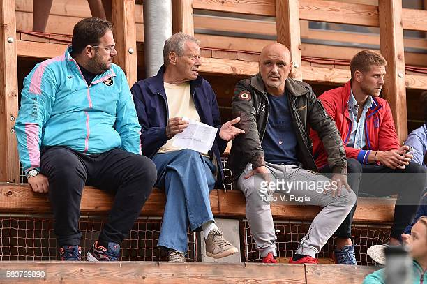 Sport Manager Daniele Faggiano, President Maurizio Zamparini of Palermo and Davor Curkovic and Slobodan Rajkovic look on during the friendly match...