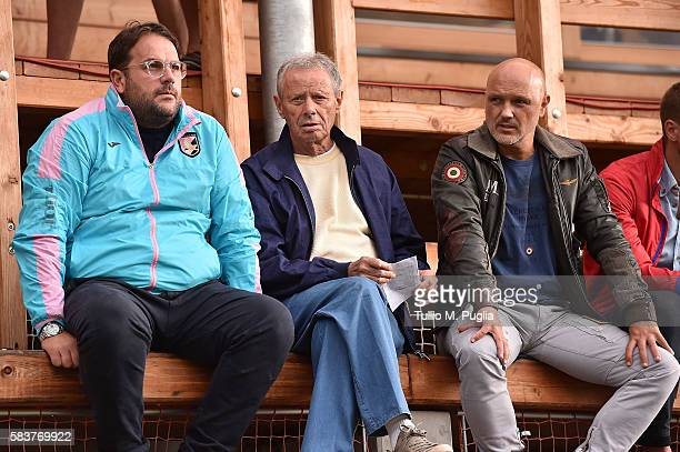 Sport Manager Daniele Faggiano, President Maurizio Zamparini of Palermo and Davor Curkovic look on during the friendly match between US Citta' di...