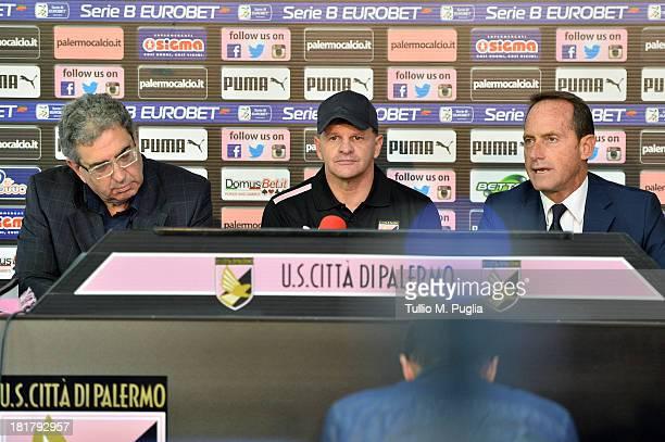 Sport Manager Giorgio Perinetti Giuseppe Iachini and VicePresident Guglielmo Micciche of Palermo attend the presentation of Giuseppe Iachini as new...