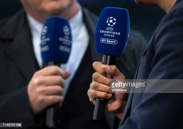 Sport microphones held by commentatoirs before the UEFA Champions League Quarter Final second leg match between Manchester City and Tottenham Hotspur...