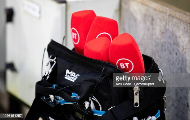 Sport microphones sit in a bag during the FA Cup Fourth Round match between Hull City and Chelsea at KCOM Stadium on January 25 2020 in Hull England