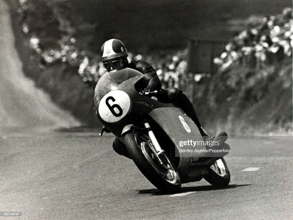 Sport Motor Cycling. pic: 14th June 1967. Italian motor-cycle star Giacomo Agostini, the first mega star on the motor cycle track, racing here at the Isle of Man T.T. He had a glittering career from 1961-1977 when he was world champion many times winning : News Photo