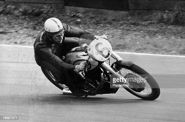 Sport Motor Racing Crystal Palace London England August 1957 John Surtees in the 500cc Senior Championship race which he won on a Norton