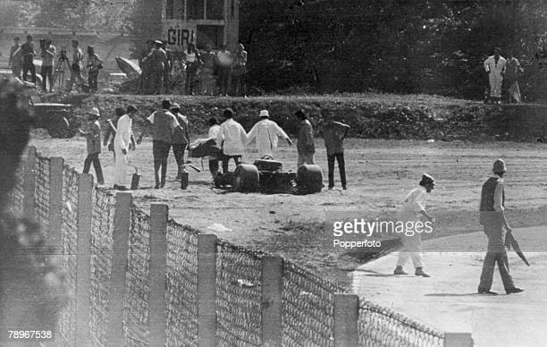 Sport Motor Racing Formula One 5th September 1970 Italian Grand Prix at Monza Austria's Jochen Rindt has crashed during practice at Monza with his...