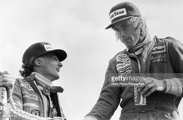 16th July 1977 British Grand Prix at Silverstone The Grand Prix winner Britain's James Hunt right with his old rival Niki Lauda who came second