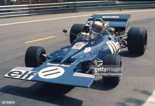 18th April 1971 Spanish Grand Prix at Montjuic Barcelona Great Britain's Jackie Stewart the race winner in the Tyrrell Ford Jackie Stewart a Scot was...