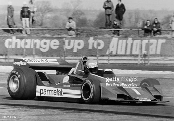 18th March 1978 Daily Express International Trophy Race at Silverstone Austria's Niki Lauda driving a Brabham during time trials for the race Niki...