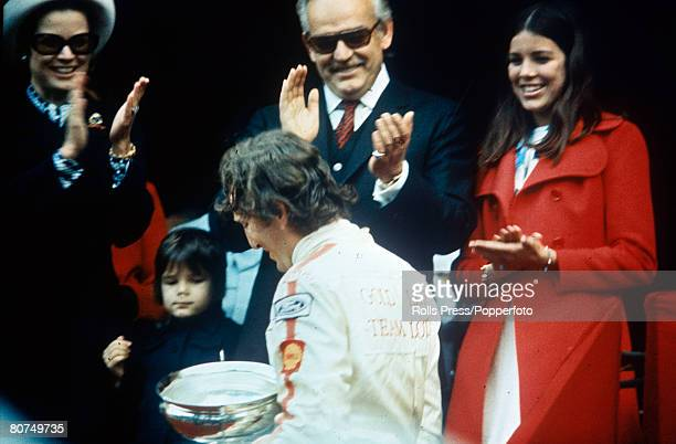 1970 Monaco Grand Prix at Monte Carlo Austria's Jochen Rindt having received the winner's trophy from Prince Rainier of Monaco with the Royal Family...