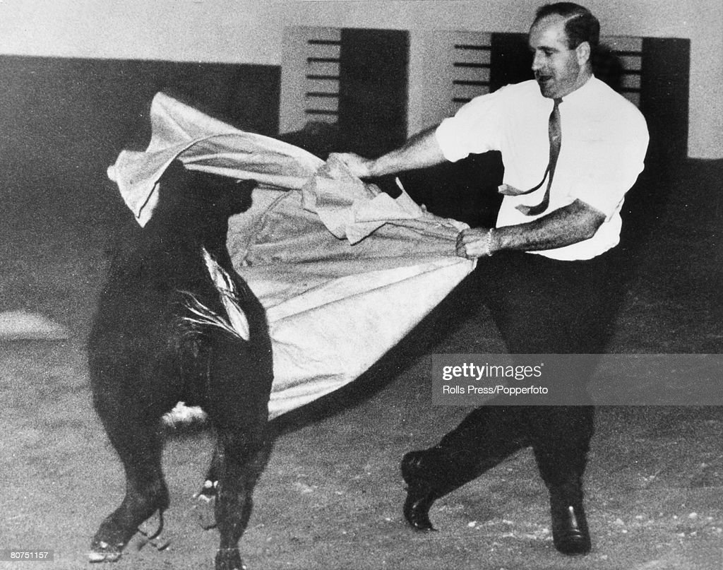 24th October 1967, Mexico City, New Zealand driver Denny Hulme, then world champion, fighting a bull at a party, following the Mexican Grand Prix, Denny Hulme was Formula One world champion in 1967