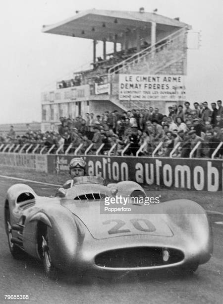 5th July 1954 French Grand Prix at Rheims Mercedes driver German driver Karl Kling at practice prior to the race Kling and Mercedes teammate Juan...