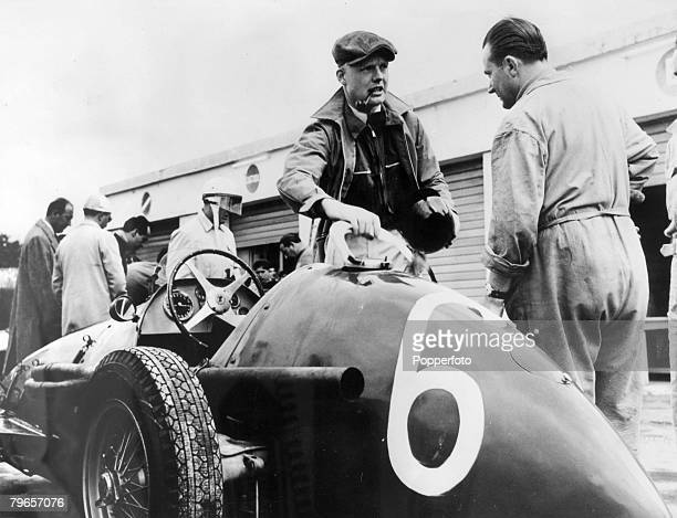 April 1954 Argentine Grand Prix Buenos Aires British racing driver Mike Hawthorn smoking a pipe before competing in the race in which he was lucky to...