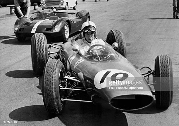 May 1963 Silverstone England Great Britain's John Surtees at the wheel of the V6 Ferrari John Surtees who won world championships on two wheels and...