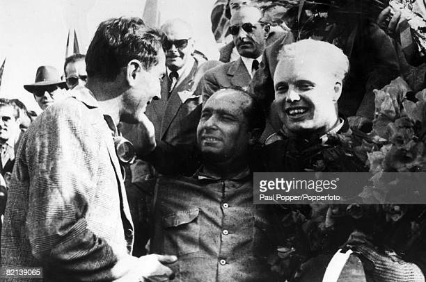 October 1954 Spanish Grand Prix at Barcelona British racing driver Mike Hawthorn right after winning the Grand Prix Mike Hawthorn won the 1958...