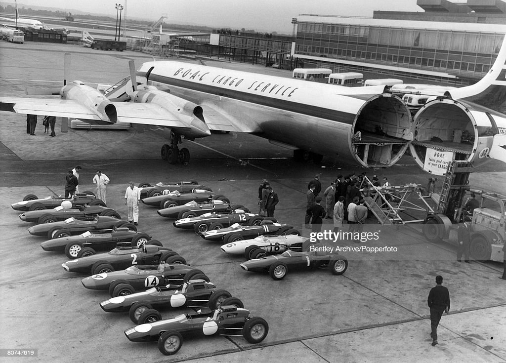 Sport Motor Racing. Formula One. pic: September 1963. London Airport. Nineteen racing cars await loading at the airport on to a cargo plane to take them to America to compete in the Watkins Glen Grand Prix. : News Photo