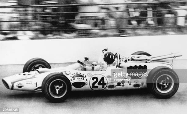 Sport Motor Racing Indianapolis USA 1st June 1966 Grand Prix driver Graham Hill en route to winning the Indy 500 in a Lotus Ford car