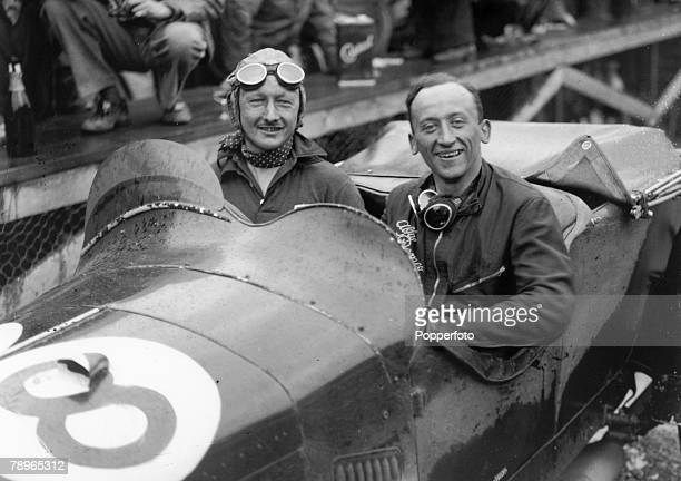 7th June 1931 Irish Grand Prix at Phoenix Park Dublin Sir Henry Birkin left in his Alfa Romeo car with mechanic Gaboardi Allessandro after winning...